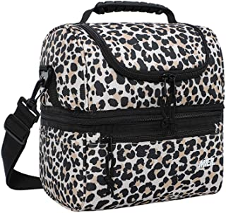 MIER Adult Lunch Box Insulated Lunch Bag Large Cooler Tote Bag for Women, Double Deck Cooler, Leopard (Large)