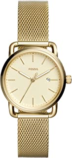 Fossil Women's 'Commuter' Quartz Stainless Steel Casual Watch, Gold-Toned (Es4332), Analog Display