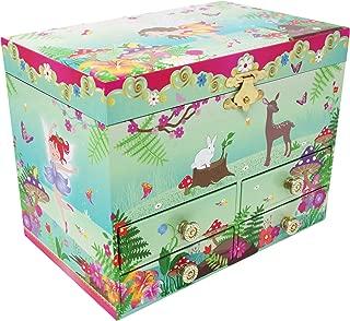 Pink Poppy Forest Fairy Medium Floral Green 7 x 6 Skater's Waltz Music Jewelry Box