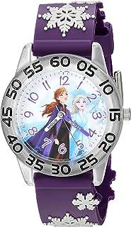 ساعة ديزني للبنات فروزن انالوج كوارتز بحزام بلاستيكي، 16 موديل (WDS000795)