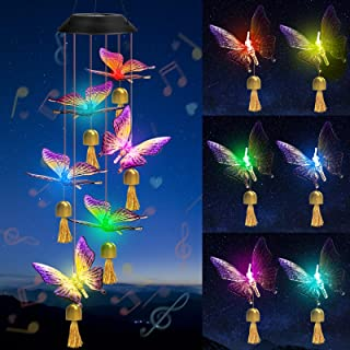 Fohil Solar Butterfly Wind Chimes with Bell,Waterproof Solar and Musical Wind Chime, Outdoor Solar Lights Butterflies, Aut...