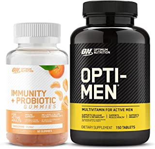 Optimum Nutrition Immunity & Probiotic Gummies, Immune and Digestive Health Support (60 Count) with Opti-Men, Mens Daily M...