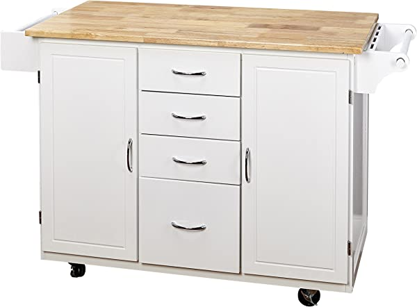Target Marketing Systems Two Toned Country Cottage Rolling Kitchen Cart With 4 Drawers 2 Cabinets 1 Towel Rack 1 Spice Rack And An Adjustable Shelf White Natural