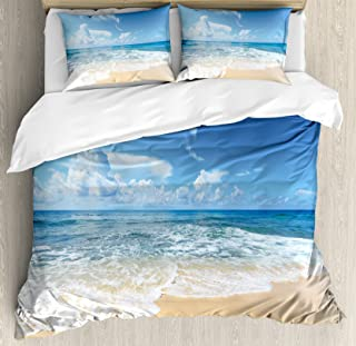 Ambesonne Ocean Duvet Cover Set Queen Size, Waves and Paradise Beach with Sky Sun Endless Summer Sea Coast View Tropic Print, Decorative 3 Piece Bedding Set with 2 Pillow Shams, Cream Blue