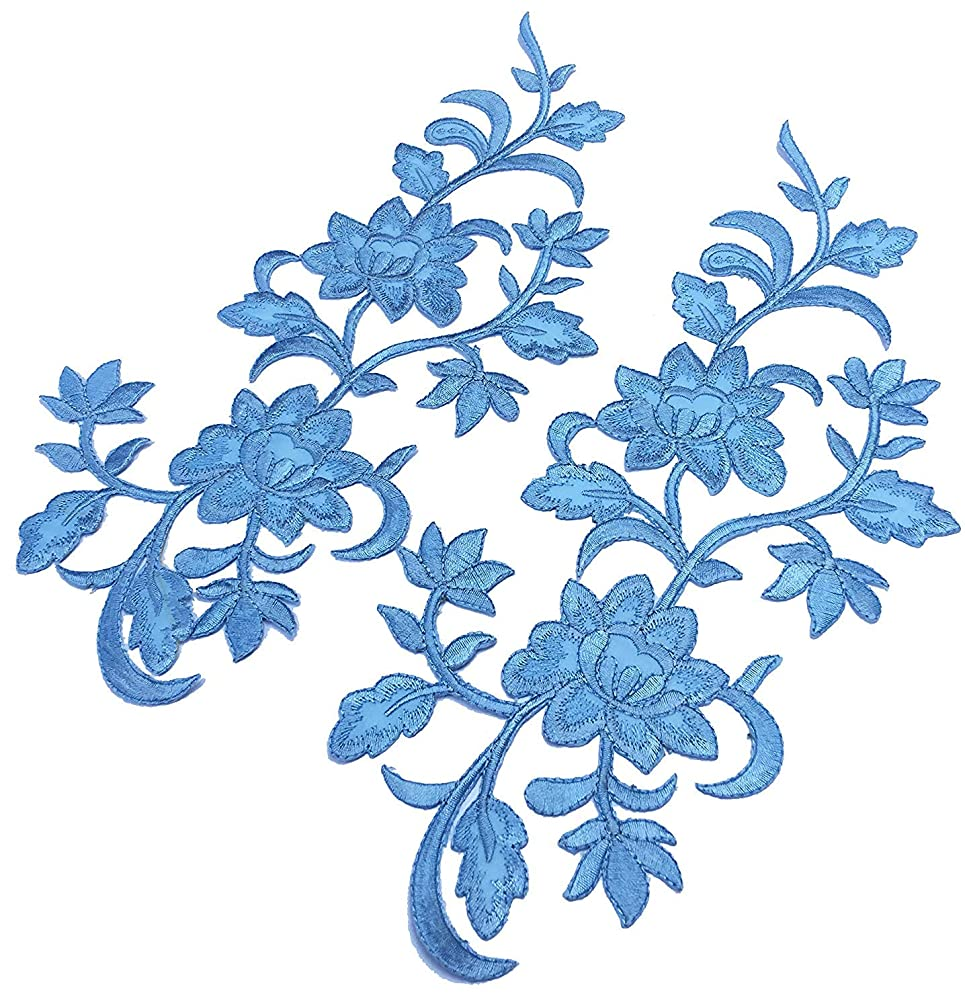 Two Big Flower Iron on Embroidered Appliques Patch Embroidered Lace Fabric Ribbon Trim Neckline Collar (Blue)