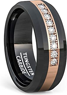 Duke Collections 8mm Polished Tungsten Ring Gold Inlay with Cubic Zircon Comfort Fit