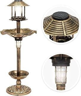 Best Choice Products Decorative Garden Solar-Powered LED Pedestal Bird Bath Feeder w/Planter, Lamp Topper