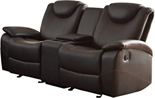 Homelegance Double Glider Reclining Love Seat Faux Leather, Black