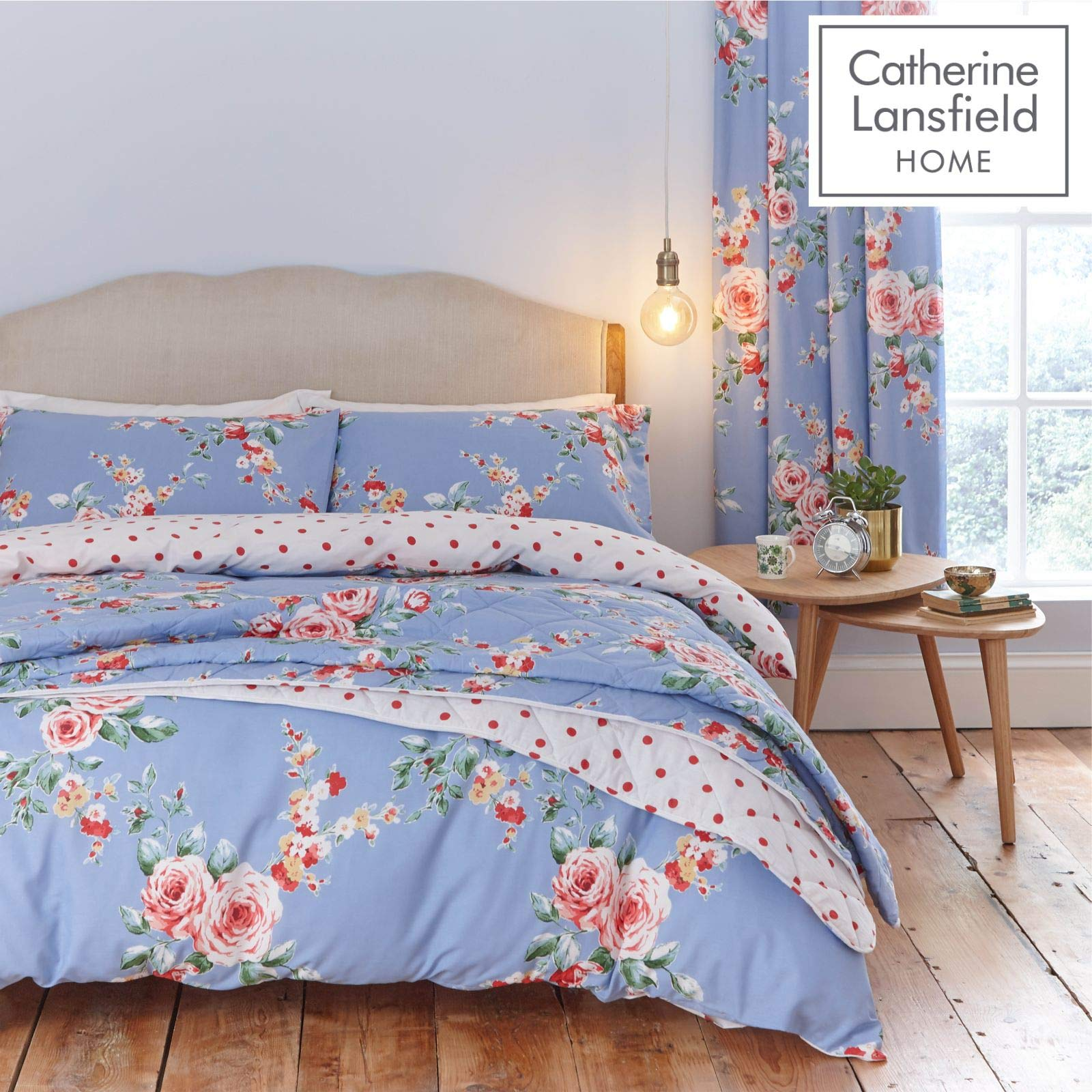 Catherine Lansfield Canterbury Housse de Couette en Coton Double Bleu