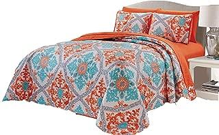 Micasa 7 Piece Oversized Reversible Bedpsread Quilt Set with Complete Sheet Set Orange Turquoise Floral Mandala Design (King)