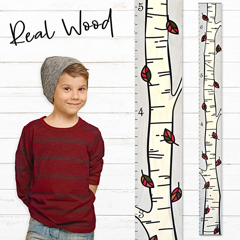 Growth Chart Art Wooden Birch Tree Growth Chart For Kids Boys And Girls Growth Chart Ruler Kids Height Chart Measuring Kids Height Wall Decor For Kids Fall Leaf Single