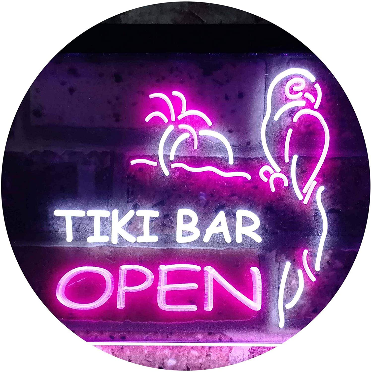 ADVPRO Tiki 5 ☆ popular Bar Open Parrot Dual Easy-to-use Neon LED Sign Color Pur White