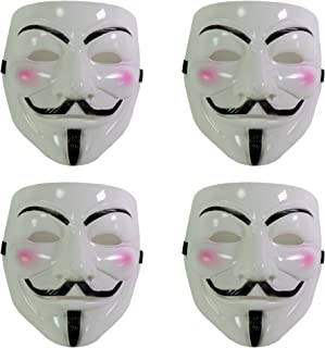 Set of 4 White V for Vendetta Guy Fawkes Anonymous Costume Cosplay Masks