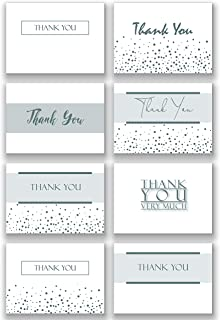 Pack of 48 Folding Silver Ink Thank You Note Cards & Envelopes | Heavy White Paper | Subtle, Shimmering, Metallic Silver Ink, in 8 Unique Designs for Weddings, Showers, Graduations, Business, Funeral