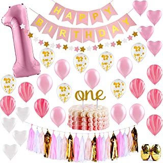 Baby Girl First Birthday Decorations - 1st Birthday Girl Decorations Pink and Gold Party Supplies - Happy First Birthday B...