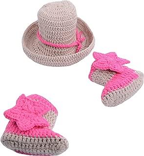CX-Queen Newborn Baby Photography Prop Crochet Cowboy Hat Boot Diaper Set Costume