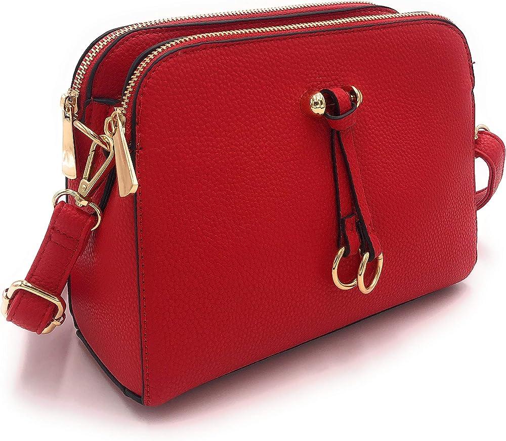 Eliox borsa a tracolla per donna piccola con 3 scomparti capienti in pelle sintetica rossa