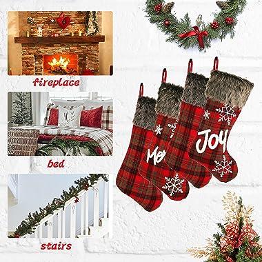 "Sunnyglade 4 Pack 18.5"" Christmas Stocking Classic Red & Black Buffalo Plaid Stockings and Plush Faux Fur Cuff Stocki"