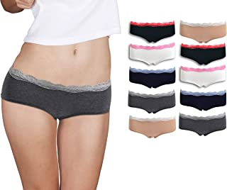 Womens Lace Underwear Hipster Panties Cotton/Spandex - 10 Pack Colors and Patterns May Vary …