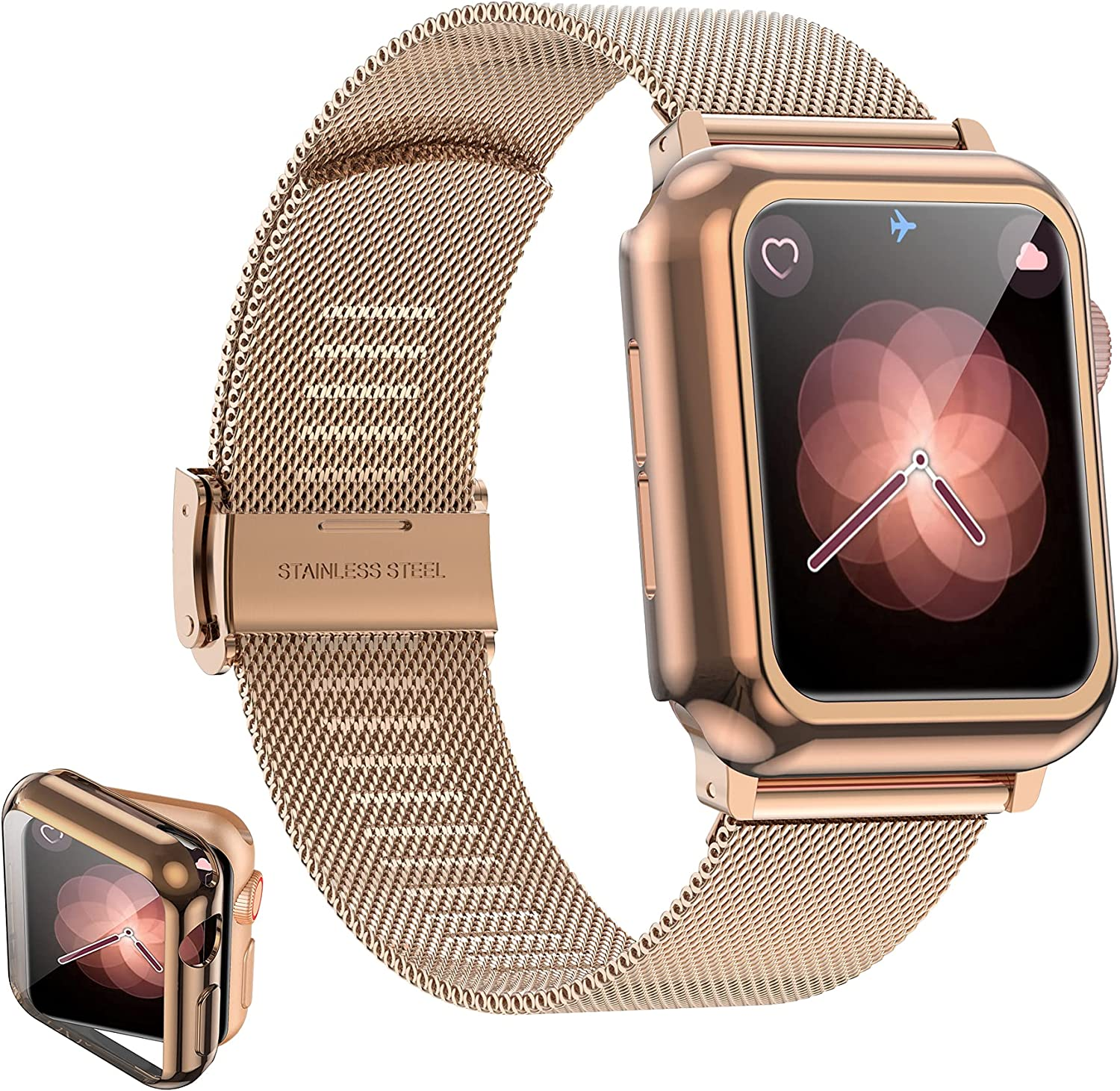 Girovo Compatible with Apple Watch Band 40mm Women Men, Stainless Steel Mesh iWatch Bands with Screen Protector Case Cover Accessories for Apple Watch Bands Series 6/SE/Series 5/Series 4, Rose Gold
