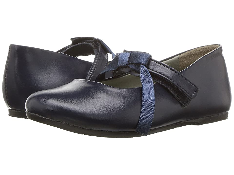 Pazitos Classic Ballerina MJ PU (Toddler/Little Kid) (Navy) Girls Shoes