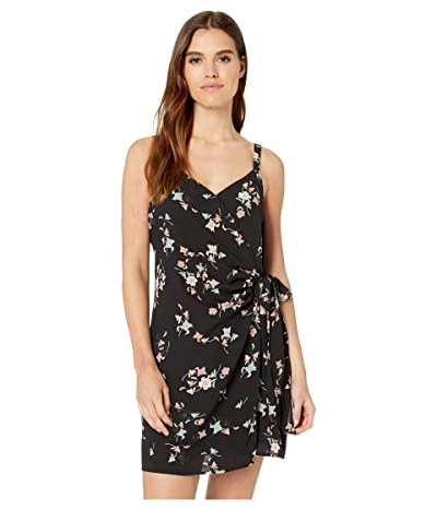 1.STATE Floral Belle Wrap Front Dress with Tie (Rich Black Blush) Women