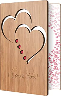 I Love You Card Handmade With Real Bamboo Wood, Wooden Greeting Cards For Any Occasion, To Say Happy Valentines Day Card, ...