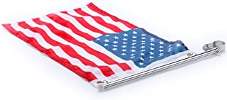 Amarine Made Stainless Steel Boat Yacht Marine Flag Pole with US Flag, Rail Mount Boat Pulpit Staff (7/8
