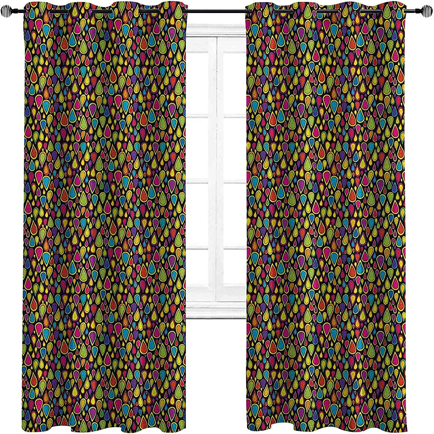 Sixties Bedroom Blackout 5 ☆ New Shipping Free Shipping popular Curtains Colorful Teardrop Shapes Patt