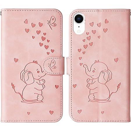Coque iPhone XR, Ailisi Cute Bébé éléphant Housse Étui en Cuir Portefeuille Magnétique Flip Cover Wallet Case avec Carte Fentes, Fonction Stand -Rose