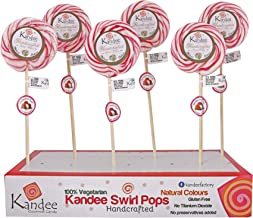 "Kandee Swirl Pops Litchi Round Natural Colour Candy Lollipop, 3"" - Pack of 6"