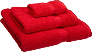 Superior 900GSM Towel Set, Face, Hand, and Bath, Red, 3 Piece
