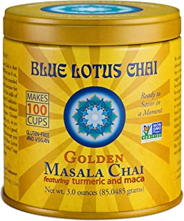 Blue Lotus Chai - Golden Masala Chai - Makes 100 Cups - 3 Ounce Masala Spiced Chai Powder with Organic Spices - Instant In...