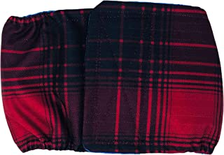 Barkertime Waterproof Male Dog Diaper - Made in USA - Christmas Red Plaid Premium Waterproof Washable Dog Belly Band Male Wrap for Territorial Marking, Excitable Peeing and Urinary Incontinence