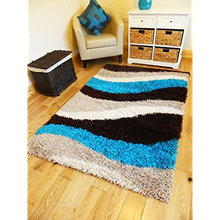 New Small Xx Large Teal Brown Beige Cream Shaggy Area Rug Thick Runners Soft Shaggy Rug 120 X 170cms Amazon Co Uk Kitchen Home
