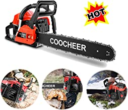 OppsDecor XP2300 58cc Gas Powered Chainsaw, 20 Inch 2 Stroke Handed Petrol Gasoline Chain Saw for Cutting Wood with Tool Kit,Garden Farm Home Use (US Stock) (58CC-Red)