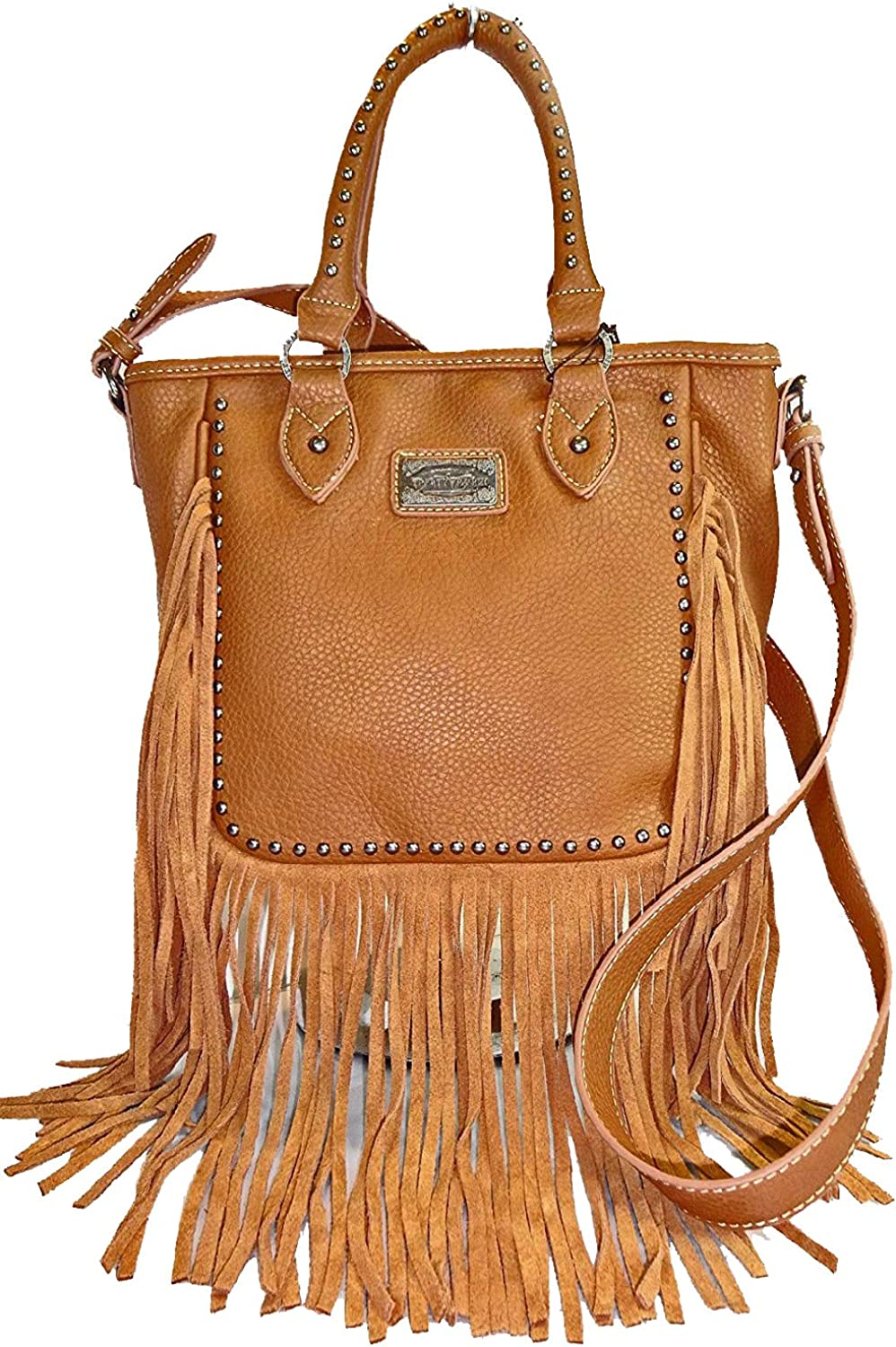 Trinity Ranch Medium TopHandle Leather Fringe Compatible for GE, crossbody Tote Brown