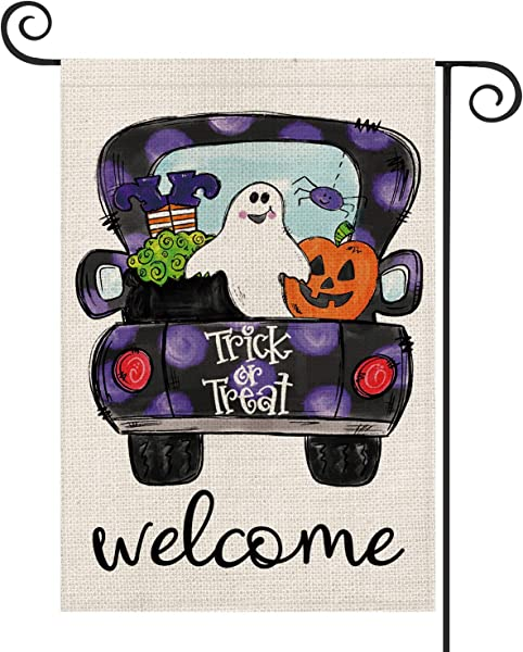 AVOIN Halloween Truck Garden Flag Vertical Double Sized Witch Jack O Lantern Ghost Trick Or Treat Burlap Yard Outdoor Decoration 12 5 X 18 Inch