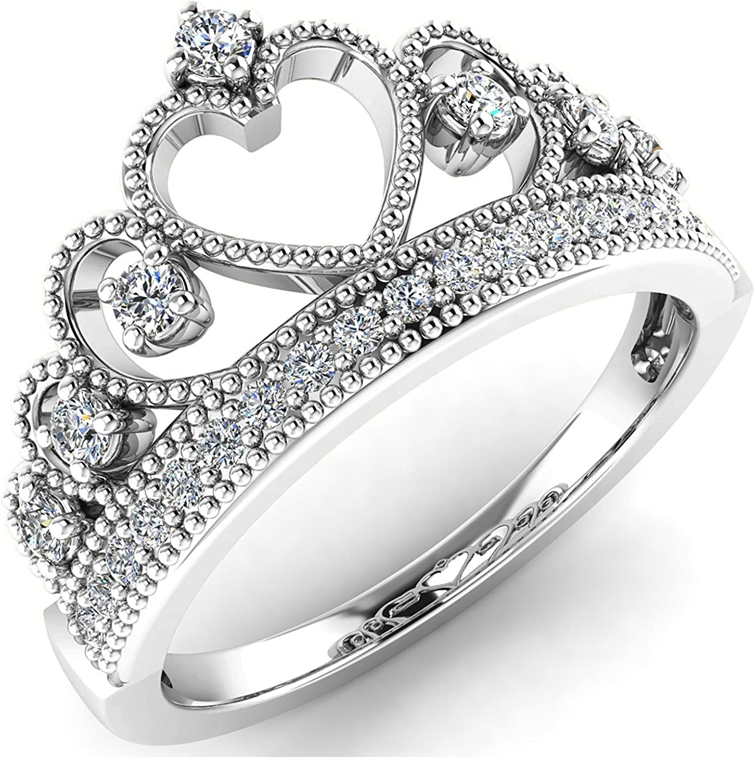 Sterling Silver Rhodium Plated Heart Princess Crown CZ Band Ring