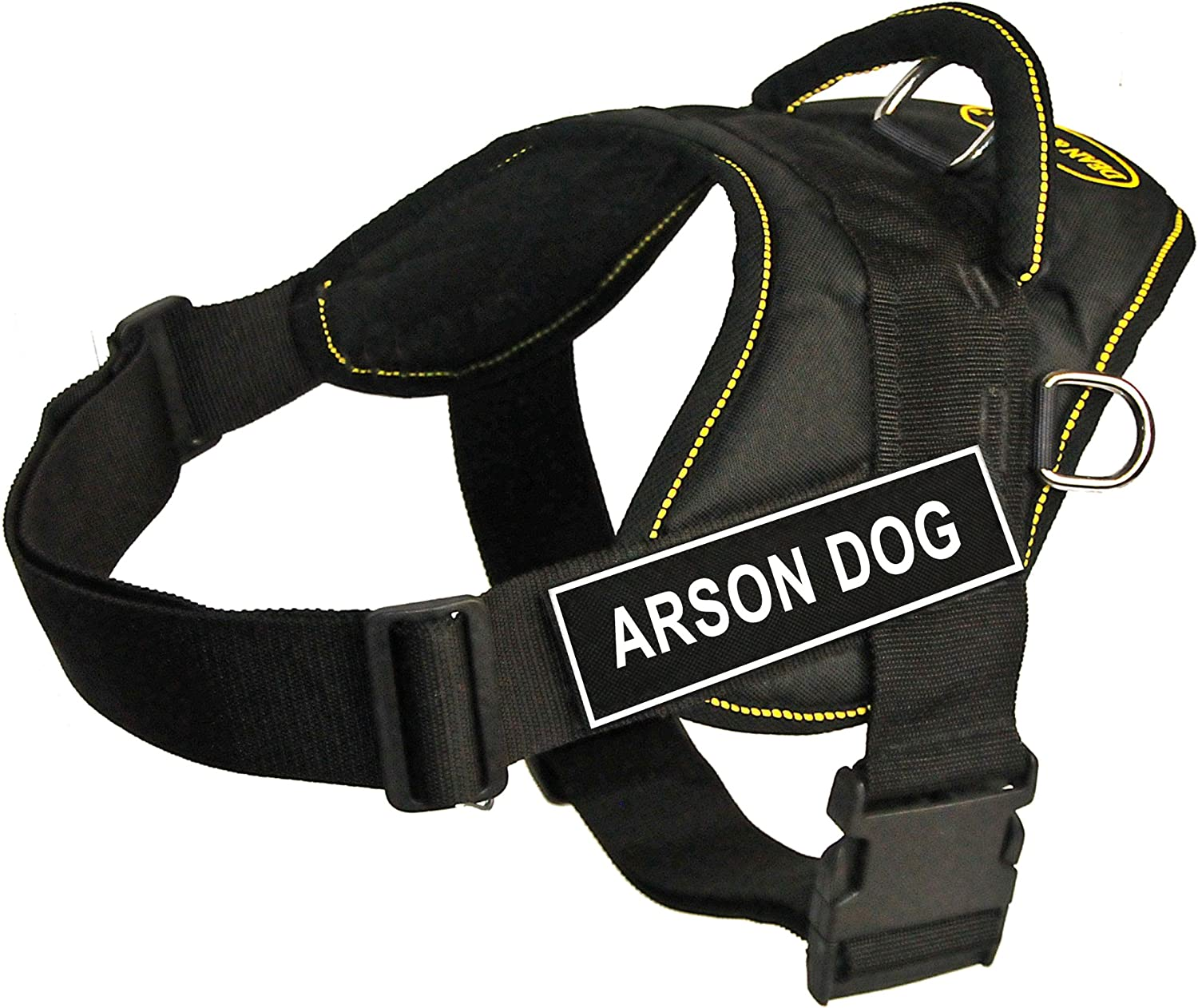 Dean & Tyler Fun Works 20Inch to 23Inch Pet Harness, XSmall, Arson Dog, Black with Yellow Trim