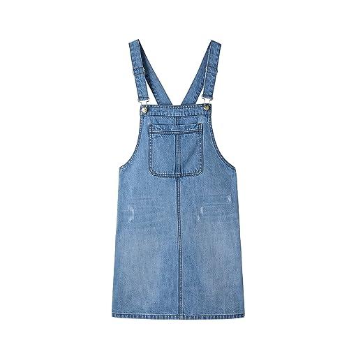 8a25b13a6 Duo Bao Yu Women's Denim Overalls Dress Juniors Bib Skirt Adjustable Cute  A-line Jean