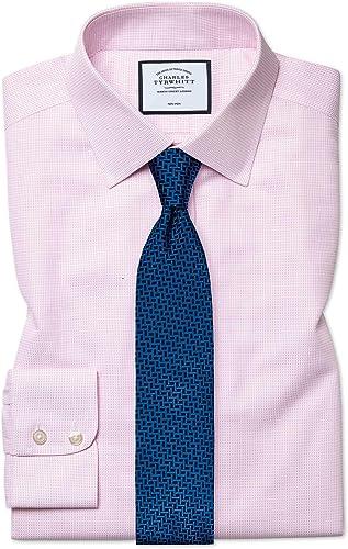 Chemise à Motif à Effet Tirets Rose Slim Fit Sans Repassage   Rose (Poignet Mousquetaire)   15.5   32