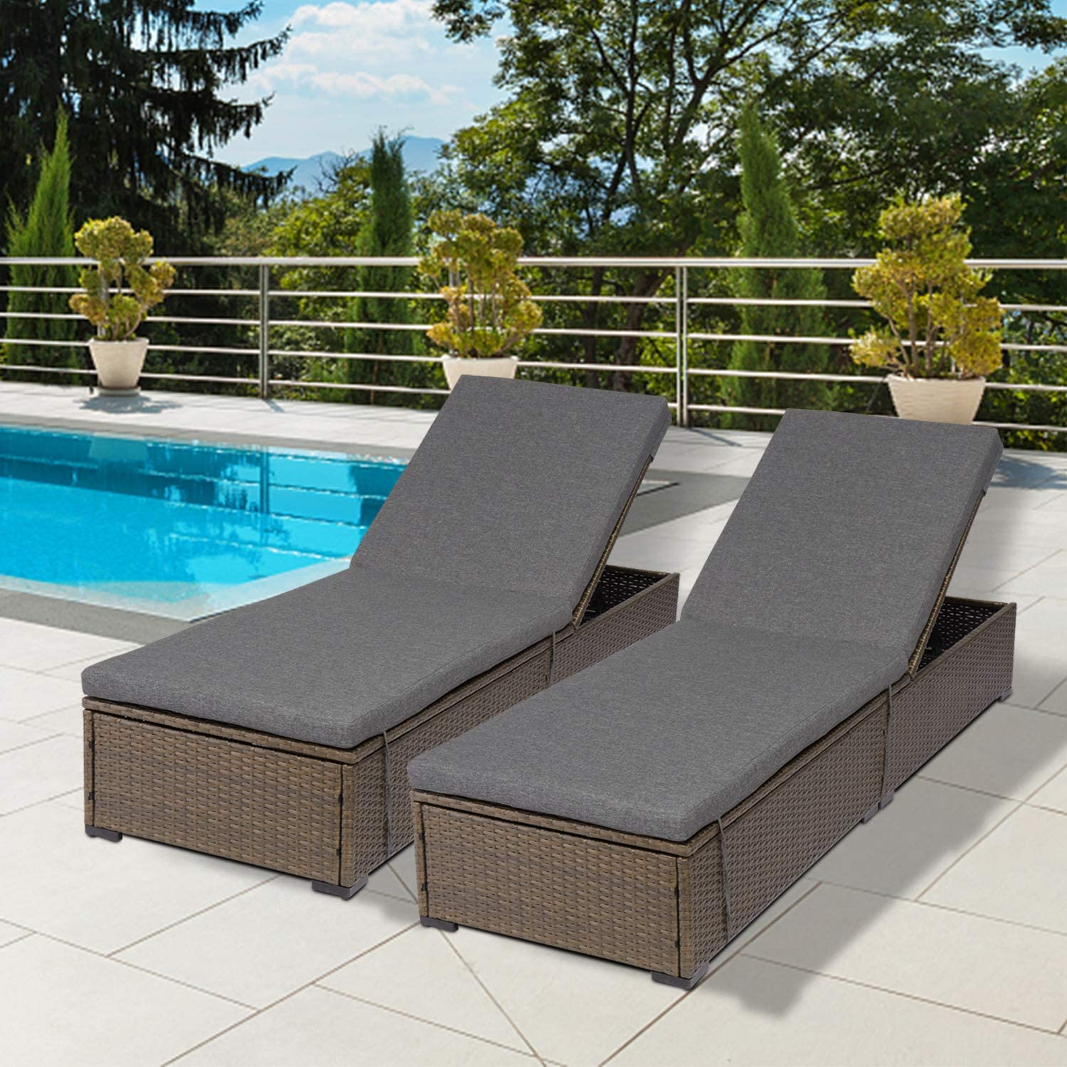 Kinsunny Outdoor supreme PE Wicker Chaise Max 70% OFF Reclining Patio Chair Lounges