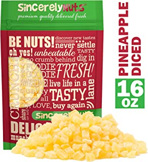 Sincerely Nuts Dried Pineapple Diced - One Lb. Bag - Addictively Delicious - Freshness Beyond Belief - Bursting with Healthy Nutrients - Kosher Certified