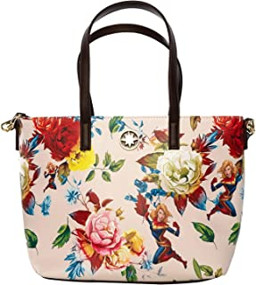 Captain Marvel Floral Print Faux Leather Loungefly Tote Standard, White