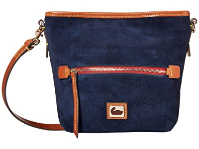 Dooney & Bourke Camden Fielding Suede Mini Hobo Crossbody (Navy/Brandy Trim) Handbags