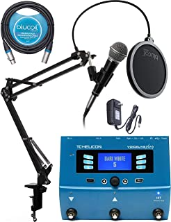 TC Helicon VoiceLive Play Vocal Effects Pedal Bundle with Samson R21S Cardioid Dynamic Microphone, Blucoil Boom Arm Plus Pop Filter, and 10-FT Balanced XLR Cable