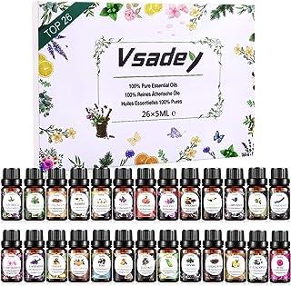 VSADEY Huiles Essentielles Aromathérapie, Top 26 Ensemble Huiles Essentielles 100% Pures et Naturelle, Huile Essentielle p...