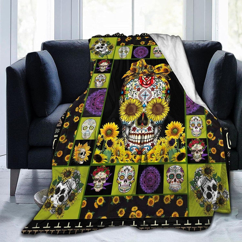 Rare PNNUO Throw Blanket Sunflower Sugar Flannel Under blast sales Skull Fleece Blanke