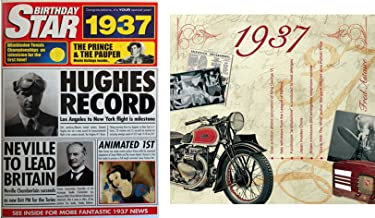 1937 BIRTHDAY GIFTS PACK - 1937 DVD News Documentary 59 Minutes - 1937 Chart Hits CD 20 Original Songs - 1937 Greetings Cards - 8 x 5.5 Inches and 6 x 5.5 inches